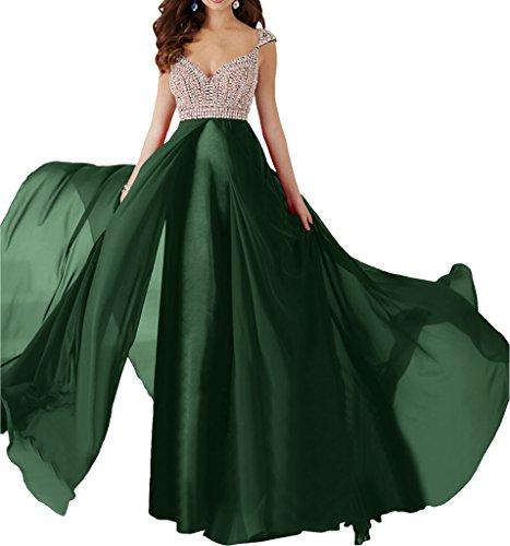 La_Marie Braut Burgundy Chiffon Abendkleider Ballkleider Partykleider Brautmutterkleider Lang A-linie Dunkel Gruen