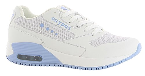 Oxypas Neu Sport, Berufsschuh Ela, Antistatischer (ESD) Leder Sneaker für Damen (40, Weiß-Hellblau)