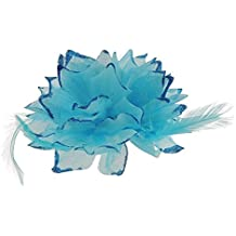 Flor grande de plumas con purpurina pelo, tocado para el pelo Clip color turquesa