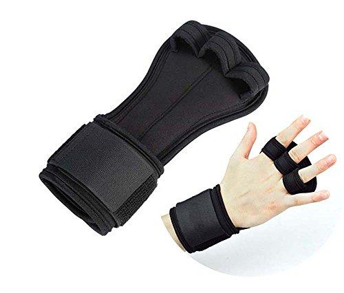 Trainingshandschuhe Fitness Handschuhe mit Anti Schweiß Design für Damen Herren (Halbe Fingerhandschuhe, Schwarz)