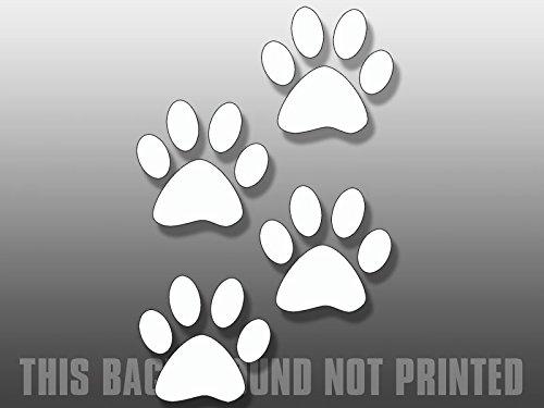 4 piccole impronte di cane bianco, per finestre, vinile, decalcomania
