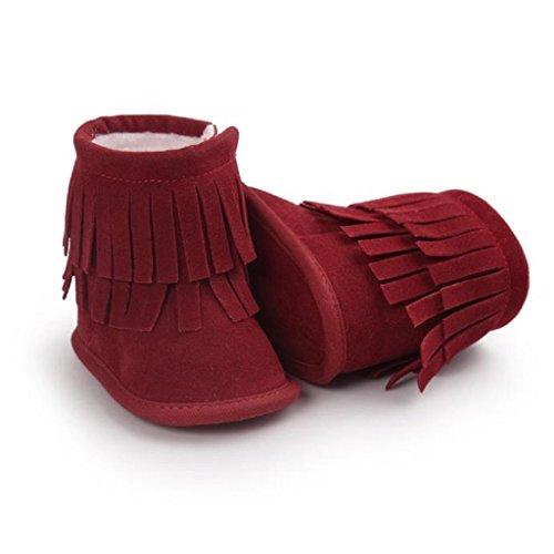 Amlaiworld Baby Schneestiefel Warm Doppelstock-Quasten weiche Sohle weiche Krippe Schuhe Rot