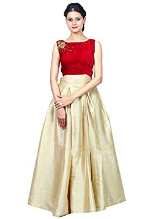 Shirasi maroon velvett crop top & beige silk pleated skirt S-1149