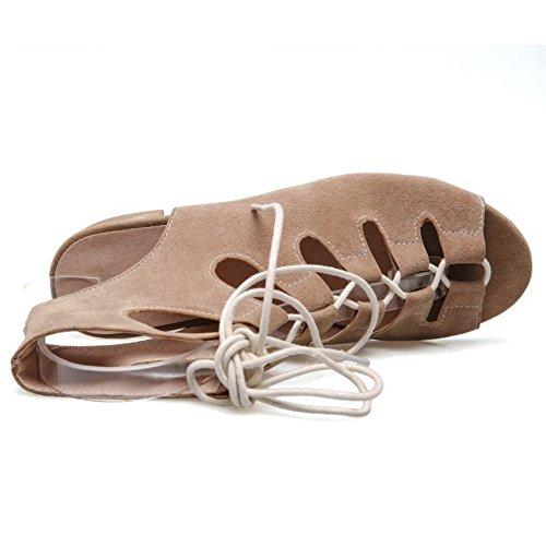 COOLCEPT Femmes Mode Lacets Sandales Creux Slingback Confortable Talon bas Gladiateur Chaussures Kaki