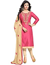 be6d9ce06e AnK Special offer Women's Pink Embroidered Chanderi Cotton Semi Stitched  Salwar Suit with Dupatta