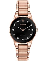 Citizen Watch AXIOM women's quartz Watch with black Dial analogue Display and Rose gold Stainless steel Rose gold plated Bracelet GA1058-59Q