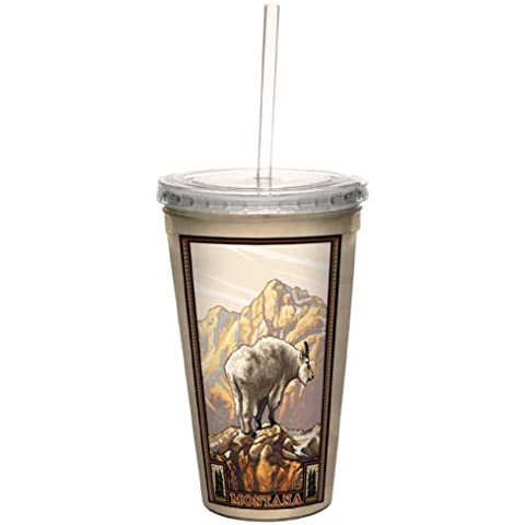 Tree-Free Greetings cc33365 Vintage Montana Mountain Goat by Paul A. Lanquist Artful Traveler Double-Walled Cool Cup with Reusable Straw, 16-Ounce by Tree-Free Greetings