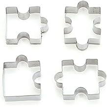 4 piezas Rompecabezas forma cortador de galletas cortador de sándwich de acero inoxidable para