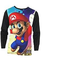 cdb2c93a04dd Aivosen Impression en 3D Super Mario Bros Tee-Shirt Manches Longues Bleu  Marine pour Hommes