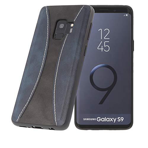 PULSARplus Hülle kompatibel mit Samsung Galaxy S9 Handyhülle, Unterstützt kabelloses Laden (Qi), Schutzhülle dünn Case Cover Blau Schwarz Vintage