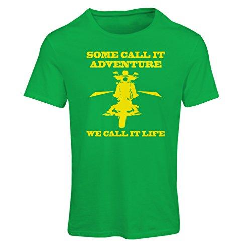 Frauen T-Shirt We Call it Life! Motorcycle Clothing (XX-Large Grün Mehrfarben)