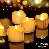 LED Kerzen, FOCHEA 12er Set Flammenloses LED Kerzen/Teelichter/LED Teelicht Batteriebetriebener mit Timer-Funktion, 6 Stunden an und 18 Stunden aus für Weihnachtsdek Hochzeit (Warmweiß)