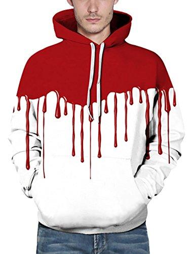 KamiraCoco Herren Kapuzenpullover 3D Druck Muster Hoodie Weihnachten Halloween Sweatshirt Pullover Bluttropfen
