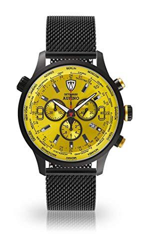 DETOMASO AURINO Uomo Orologio Cronografo analogico al quarzo nero Milanaise Cinturino luce quadrante giallo DT1061-O-851