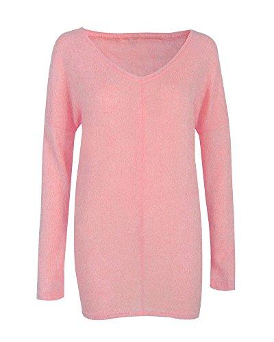 Donne Manica Lunga Pullover Lavorato A Maglia Maglione Ladies Casuale Felpe Camicetta Top Pink