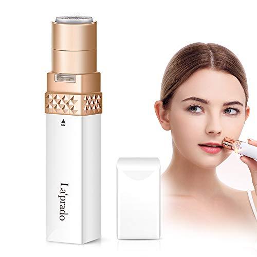 Elektrisch Rasierer Damen, La\'prado Flawless Gesichtshaarentferner für Frauen mit LED-Licht, Intimbereich Hair Remover für Gesicht, Lippe, Finger, Wange, Achsel (Weiß)