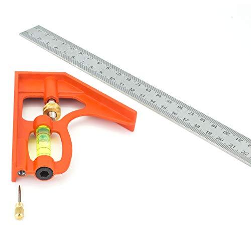 Edelstahl Kombinationswinkel 300mm - verstellbares multifunktionales Messwerkzeug geeignet für Winkel Füllstand Gleichgewicht Höhen Tiefenmessungen Winkel Set, Orange -
