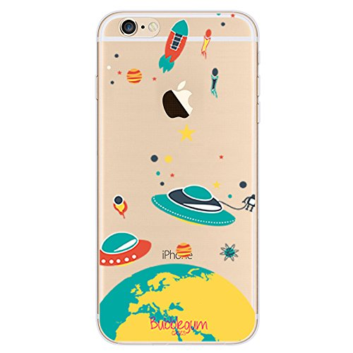 Bubblegum® für iPhone Modelle Raumschiffe Fall Collection–TPU Schutzhülle Soft Gel Artistic Schutzhülle, 5: UFO on Earth, iPhone 6 6s 1: Yellow Planet