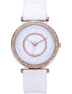 JSDDE Uhren,Elegante Strass Damen Armbanduhr Glitzer Dial Uhren PU Lederband Ladies Dress Analog Quazruhr,Weiss