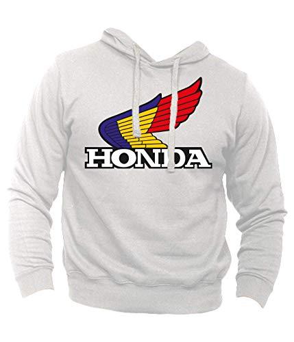Felpa Honda NSR HRC Vintage Hoodie Freddy Spencer Moto Bike Race Racing (L, Bianco)