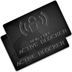 RFID Blocker Karte 2er-Set - GranHin Active Blocker - NFC Störsender - aktuellste E-Field Technologie - Schutzkarte für Geldbörse, Kreditkarte, EC, Bankkarte, Ausweis - Schutzhüllen unnötig - 2 Stück