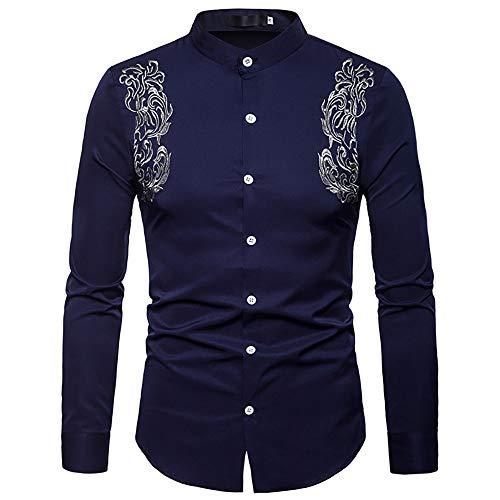 Hombres Camisa De Algodón Bordada De Manga Larga Vintage Floral Slim Fit Western Cowboy Camisa De Vestir Top (Color : 2, Size : XXL)