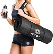 Boldfit Yoga Mat for Men and Women NBR Material with Carrying Strap, 1/2 Inch (10mm) Extra Thick Exercise Mats
