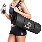 Boldfit 1/2-Inch Extra-Thick Yoga and Exercise Mat with Carrying Strap (Black)