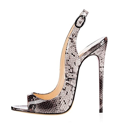 EDEFS Scarpe Peep Toe Donna Slingback Sandali Tacco a Spillo con Cinturino Caviglia Fibbia Python