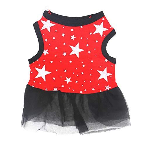 Sommermode Haustier Hundekleidung Sleeveless Stars Print Weste Rock Garn Spitze Rock Prinzessin Kleid Party Kostüm Bekleidung (Farbe: Rot) (Größe: S)