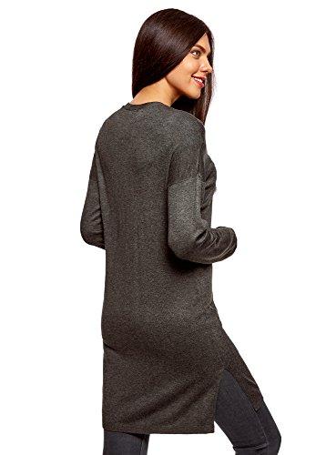 oodji Ultra Damen Verschlussloser Cardigan mit Seitentaschen Grau (2500M)