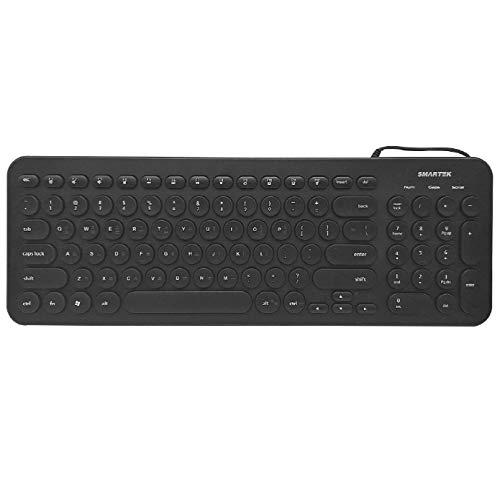 Tastatur (Koreanisch/Englisch) Retro Punk Stil Tastatur mit runder Tastenkappe USB Wired Mute Tastatur Ultra-leise Retro & Wired Mouse Kit Membrane Round Keycap Keyboards 96 Tasten Schwarz schwarz Apple Wireless Keyboard Kit