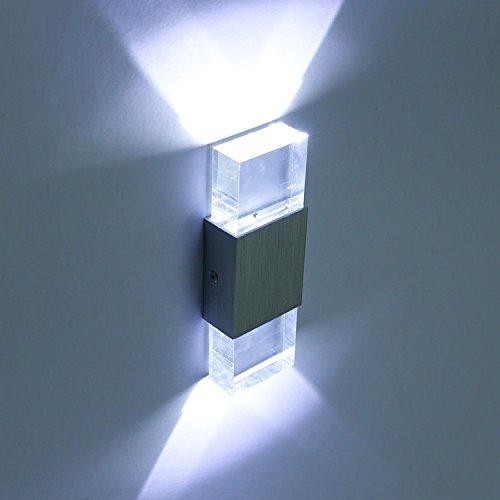 Louvra 6W LED Wandleuchte innen Modern Wandlampe aus Aluminium Rechteck Klarem Acryl Lampenschirm Up und Down Licht für Flur Korridor Eingang Wohnzimmer Schlafzimmer usw. (Kaltweiß)