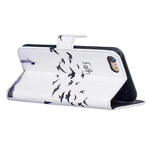"""Etui iPhone 7 (4.7""""), Sunroyal® Portefeuille Housse Coque en Premium PU Cuir Book Style Case Cover de Protection Bumper Portable Shell Motif Live Your Dream Pattern 02"""