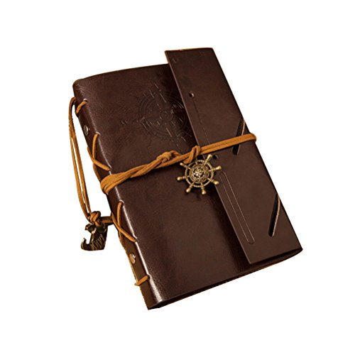 PIXNOR Vintage-Stil Anker Ruder dekoriert PU Cover Notebook Travel Diary Sketchbook (Kaffee)