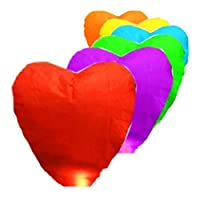 Pixnor Pack of 10 Heart Shaped Eco Friendly Sky Lantern Chinese Kongming Lantern Wishing Lamps for New Year Celebration, Christmas Celebration, Wedding, Bonfire Night, Halloween (Random Color)