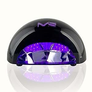 MelodySusie 12W violette LED Nageltrockner 30s superschnell Aushärtung Lichthärtegerät für LED Gel & Gelish Nagellack mit Timer schwarz
