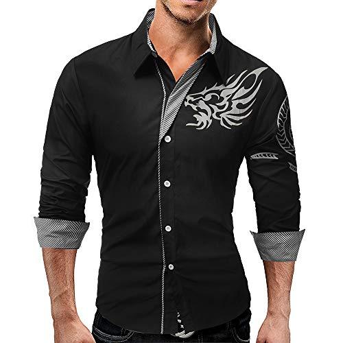 Challenge camicia uomo, uomo camicia cotone maglietta slim fit elegante camicetta stampa pullover casual maglia a maniche lunghe t-shirt pullover top autunno inverno