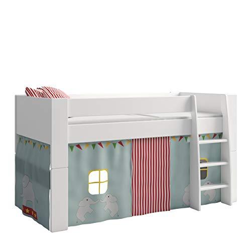 Steens For Kids Vorhangset für Kinderbett, Hochbett, 5 tlg, 176 x 75 x 91 cm (B/H/T), Baumwolle, Blau (circus)