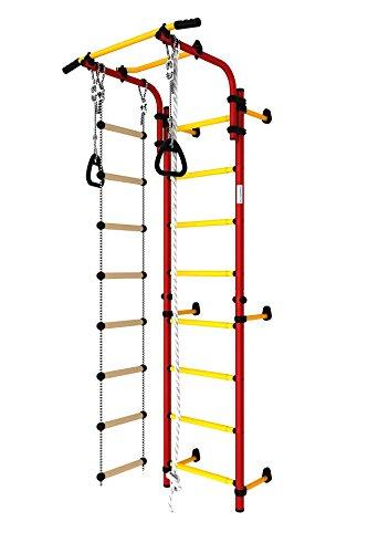 Christopeit Hercules 1W Sprossenwand, Turnwand, Klettergerüst in Rot-Gelb mit Strickleiter, Reck, Klettertau und Turnringen
