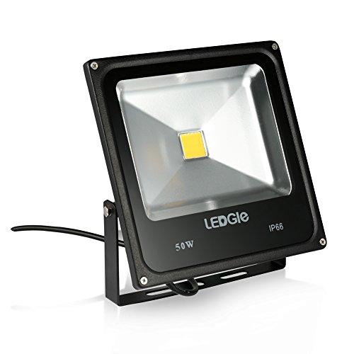LEDGLE 50W LED Flutlicht, Tageslicht Weiß, Gleicht Einer 150W HPS Birne, LED Wandstrahler, Outdoor Scheinwerfer, 6000K, 3800 Lumen,COB LEDs, IP66 Wasserdicht - 50w Hps Lampe