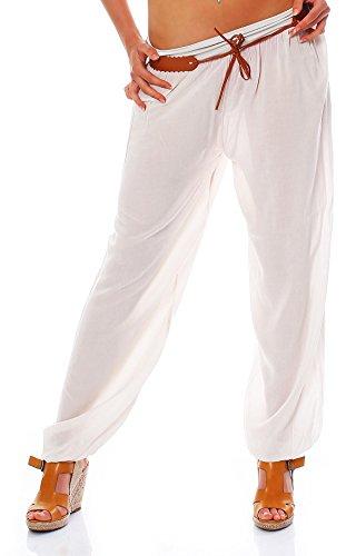 Moda Italie Mesdames Pantalon Harem Pantalon Sarouel Pantalon d'été pour femme Taille Basse avec ceinture unie Taille unique Beige