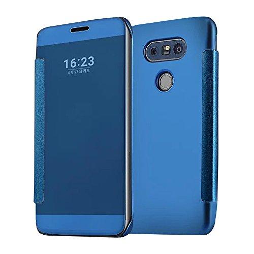 Cuitan Luxus Electroplate Spiegel PC Flip Hülle (PU Leder Verbinden) für LG G5, Mode Kreative Entwurf Plating Mirror PC Hart Schutzhülle Handyhülle Handytasche Tasche Case Cover - Blau