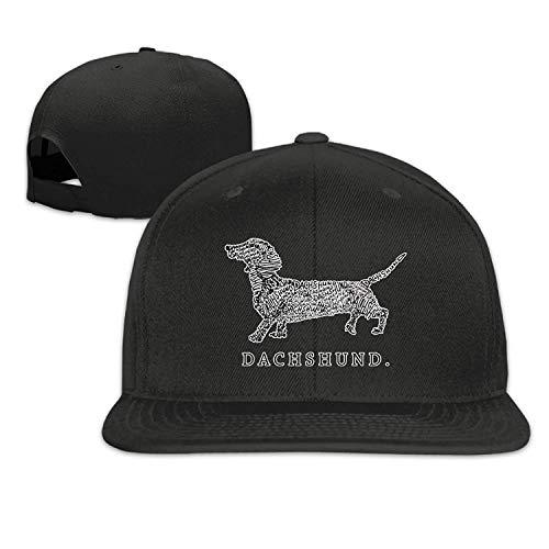Voxpkrs Dackel Doxen Weiner Wort Kunst Hundebesitzer Geschenk 1 Flache Bill Rand Einstellbare Hüte Caps Baseball Cap für Männer & Frauen U8I0013341 (Baseball-geschenke Für Teen Boys)