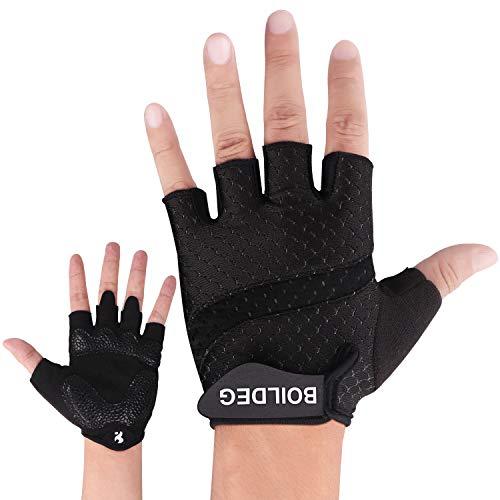 BOILDEG Fahrradhandschuhe Fingerlos Fitness Handschuhe Atmungsaktiv Rutschfestes Stoßdämpfende Radsporthandschuhe für MTB Fitness Damen und Herren(SCHWARZ,M)