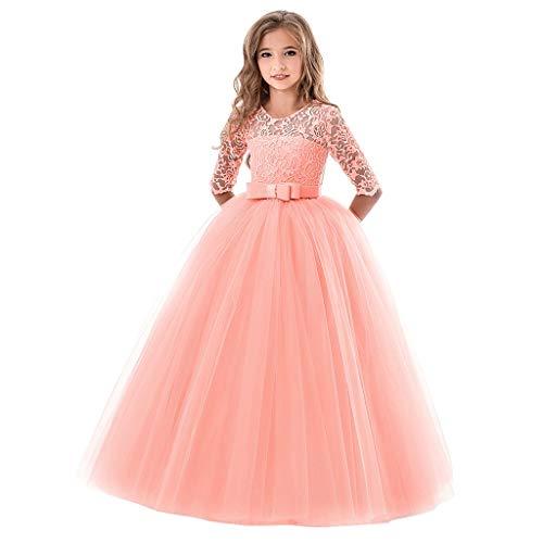 DIASTR Mädchen Blume Pailletten Prinzessin Tutu Tüll Baby Party Kleid Kinder Rüschen Spitze Party Brautkleider Festkleid Abschlussball Ballkleid (2-14jahre)