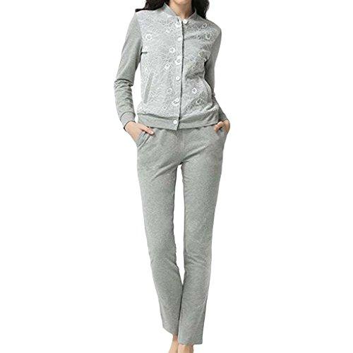 Jack Mall- Printemps de la femme de nuit de vêtements de mode Cardigan manches longues pyjamas peuvent porter chandail Gray