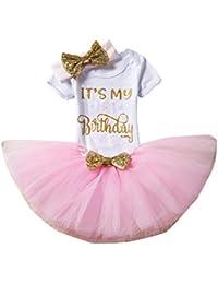 Xmiral 3Pcs Falda Tutu Bebes Niñas con Mameluco Estampado Regalo para Bautizo Cumpleaños Carnaval con Diadema de Bowknot Fiesta