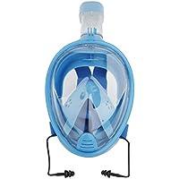 SODIAL Profesional Gafas de respiracion de Escafandra autonoma Mascara de buceo Submarino para GoPro Anti niebla Mascara de Snorkel seco con tapones para los oidos Azul