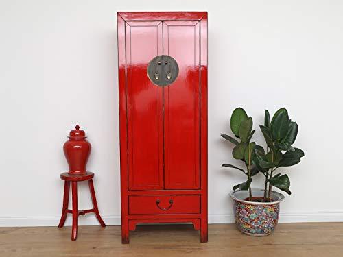 Yajutang Chinesischer Hochzeitsschrank 2 Türen 1 Schublade rot